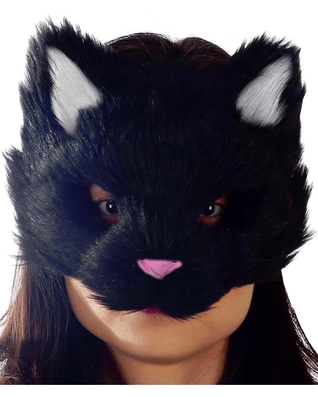 Fleecy Cat Mask Black As a costume accessory | horror-shop.com