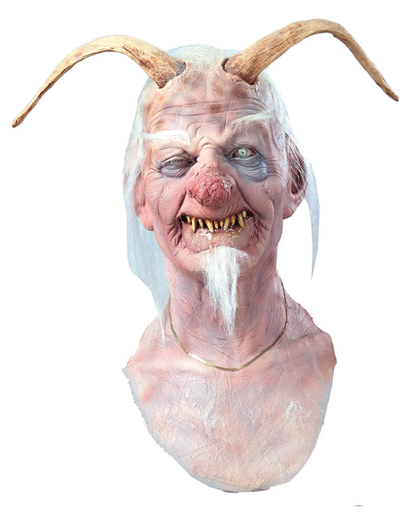 Drooling age demon mask Halloween mask with horns | horror-shop.com