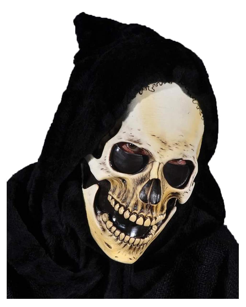 Hooded Skeleton Mask As a death skull mask | horror-shop.com