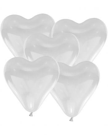 Weiße Herzluftballons 10 St.