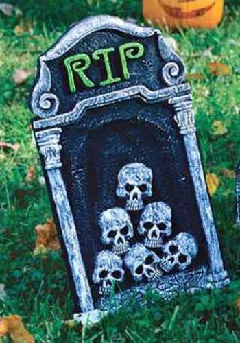 Kleiner Grabstein mit Totenschädel 40cm