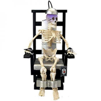 Elektrischer Stuhl mit Skelett