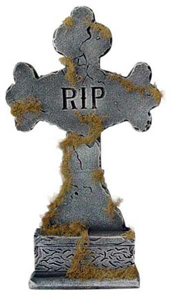 Grabstein Kreuz mit Moos