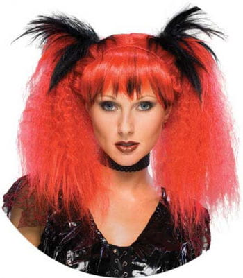 Gothic Punk Wig Long Red / Black