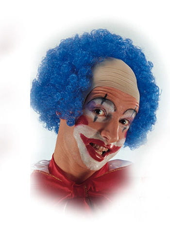 Clown Glatze mit blauen Locken