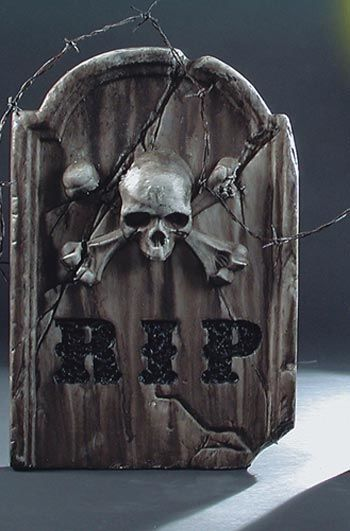 Tombstone Skull & Bones Grey