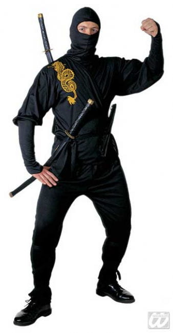 Black Ninja Costume Golden Dragon Gr. M