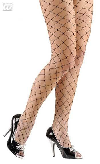 Diamond net tights black