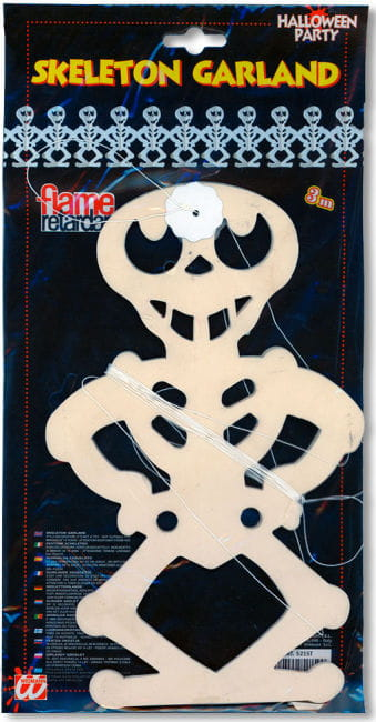 Grinning Skeleton Garland 300cm