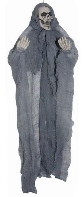Creepy skeleton hanging gray
