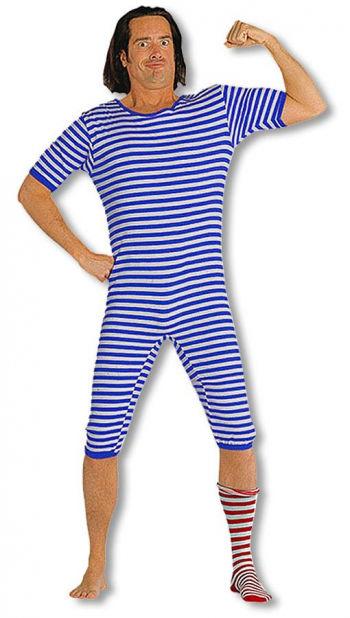 Ringel Badeanzug XL blau weiß
