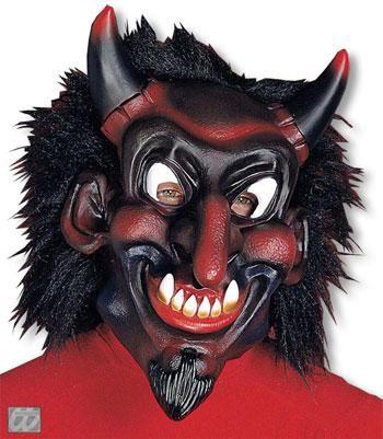 belzebub maske mit schwarzem haar halloweenmaske teufelsmaske maske mit haaren horror. Black Bedroom Furniture Sets. Home Design Ideas