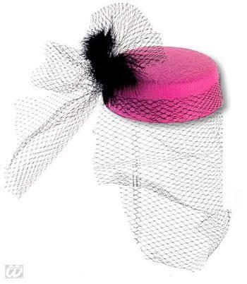 Pillbox Hut Jackie rosa mit Federn