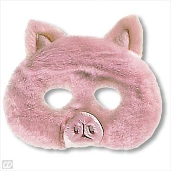 Kindermaske Schweinchen mit Plüsch