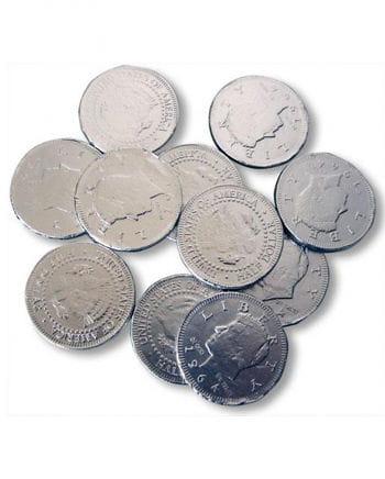 Silberne Schokoladen Münzen