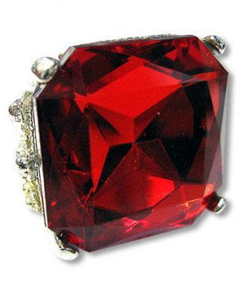 Square ring with ruby gemstone