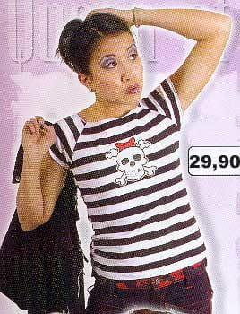 Black/White Shirt Stripes, White Skull on Front Size S