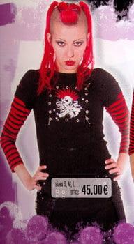 Shirt schwarz/rote Streifen an Armen, Punk Gr. S