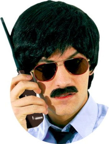 Real Hair Moustache Detective Grey