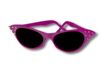 50er Jahre Sonnenbrille rosa mit Strass