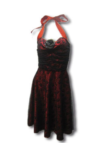 Rosen Dress Spitze Rot / Schwarz Gr. S