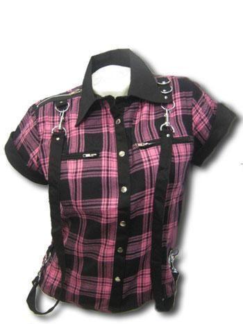pink plaid shirt in bondage look M