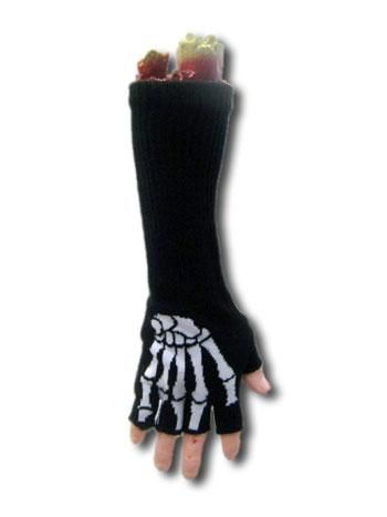 Long fingerless gloves skeleton