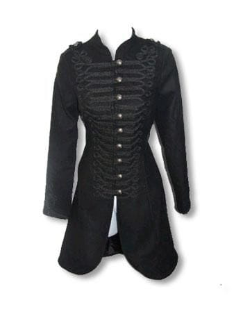 black Gothic Coat in Uniform Style XS