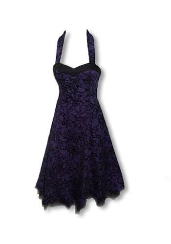 Rockabilly dress purple black S