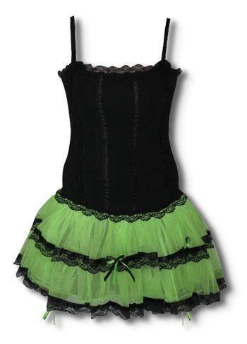 Minikleid schwarz neongrün S