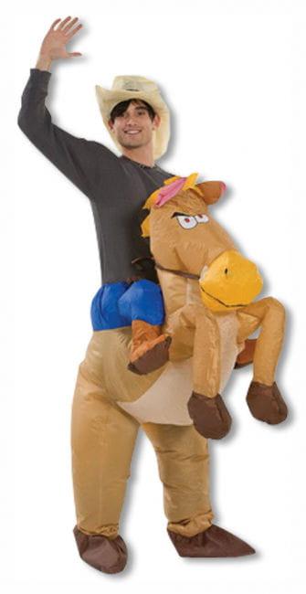 Cowboy Kostüm mit aufblasbarem Pferd
