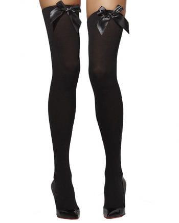 Opaque thigh high stockings black