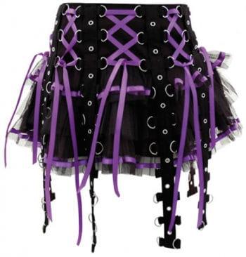 Bondage Rock mit Satinbändern schwarz lila