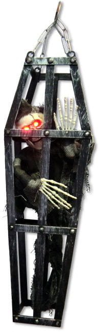 Decoration Skeleton In The Cage With LED Eyes