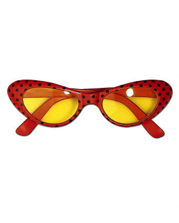 Disco Brille rot mit Punkten