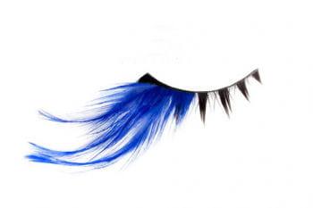Real Hair Eyelashes Black Blue Feathered
