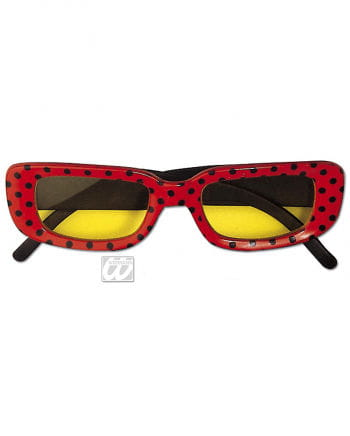 Square Disco Glasses Red with Dots