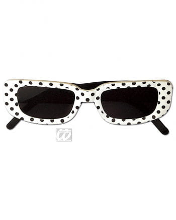 Square Disco Glasses White with Dots