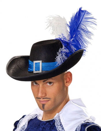 Elegant Musketeer Hat with Feathers Blue-White