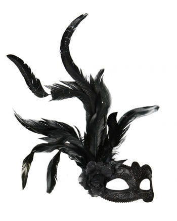 Venetian Mask with Flower & Feathers black