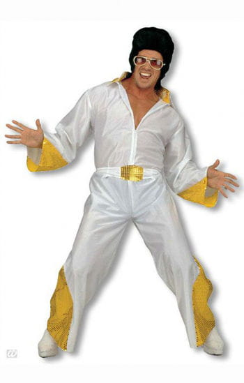 King of Rock Kostüm mit goldenem Glitter M