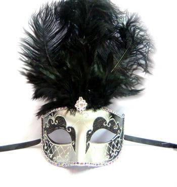 Feder Maske venezianisch schwarz/silber