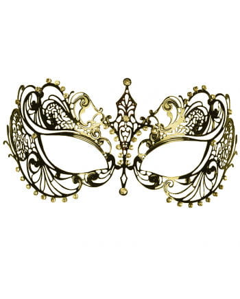 Intricate metal eye mask with rhinestone gold