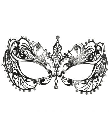 Intricate metal eye mask with rhinestone silver