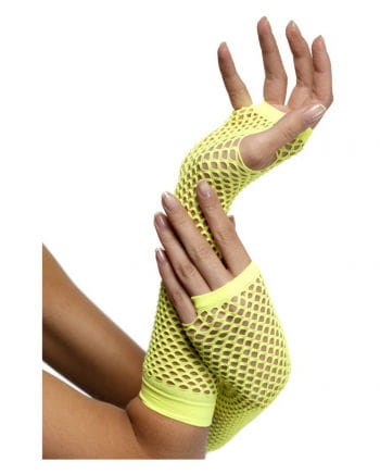Fingerless fishnet gloves Neon Yellow