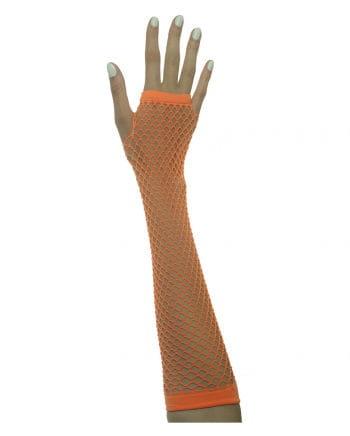 Fingerless fishnet gloves Neon Orange