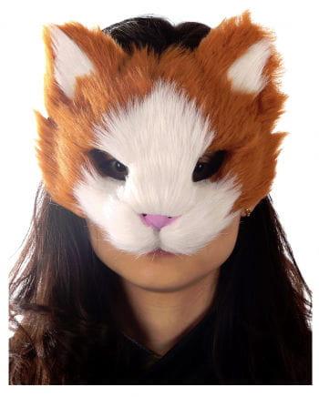 Flauschige Katzenmaske orange/weiß
