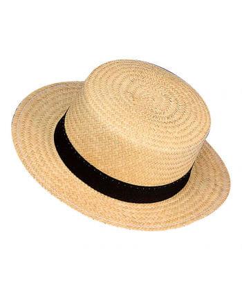 Florentine Boater with Black Hatband
