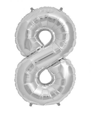 Folienballon Zahl 8 Silber