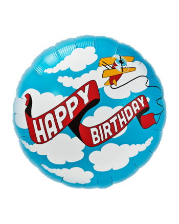 Folienballon Happy Birthday Flugzeug